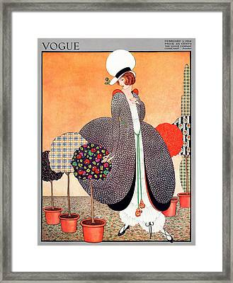 A Vogue Cover Of A Woman With Fabric Swatch Pot Framed Print by George Wolfe Plank