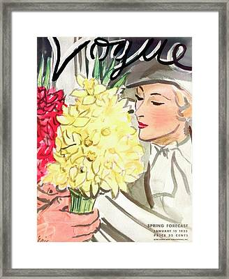 A Vogue Cover Of A Woman With Flowers Framed Print