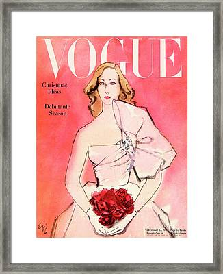 A Vogue Cover Of A Woman With Roses Framed Print by Carl Oscar August Erickson