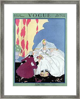 A Vogue Cover Of An 18th Century Bride Framed Print by Helen Dryden