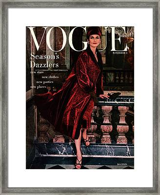 A Vogue Cover Of Anne St. Marie Wearing A Dior Framed Print by Henry Clarke