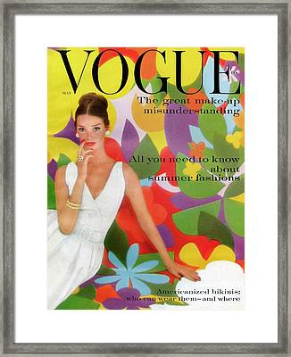 A Vogue Cover Of Dolores Hawkins With A Floral Framed Print by William Bell
