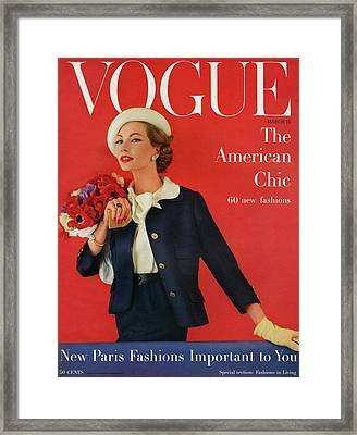 A Vogue Cover Of Jessica Ford With Flowers Framed Print by Karen Radkai