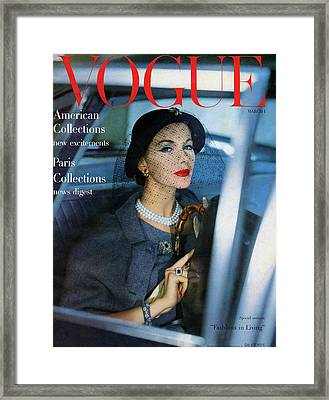 A Vogue Cover Of Joan Friedman In A Car Framed Print