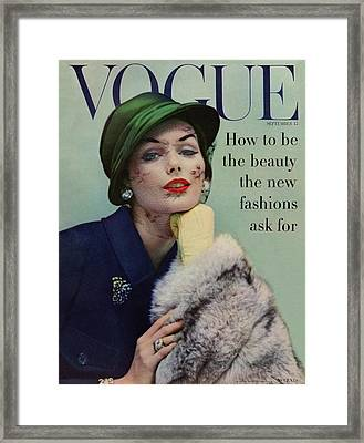 A Vogue Cover Of Lucinda Hollingsworth With A Fur Framed Print