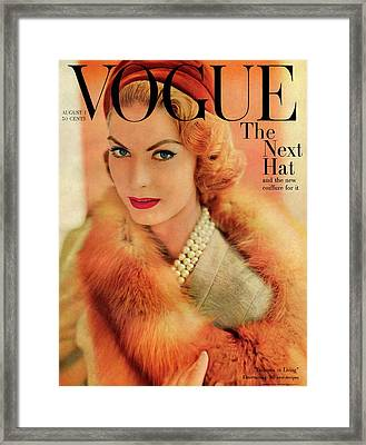 A Vogue Cover Of Mary Mclaughlin Wearing A Fox Framed Print by Horst P. Horst