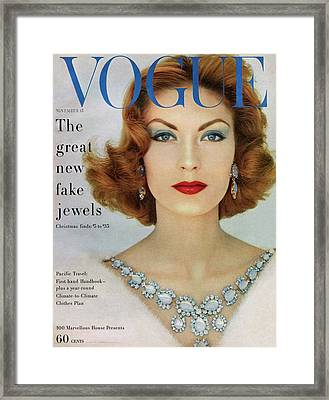 A Vogue Cover Of Mary Mclaughlin Wearing Miriam Framed Print by Leombruno-Bodi