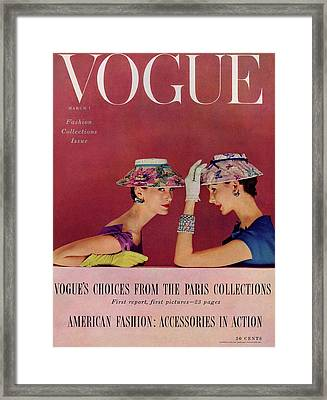 A Vogue Cover Of Models Wearing Lilly Dache Hats Framed Print by Richard Rutledge