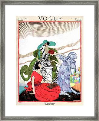 A Vogue Cover Of Women By A Sundial Framed Print by Helen Dryden