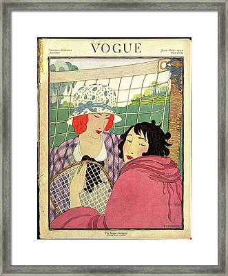 A Vogue Cover Of Women Playing Badminton Framed Print by Helen Dryden