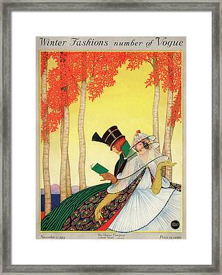 A Vogue Cover Of Women Sitting In A Forest Framed Print