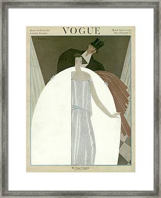 A Vogue Magazine Cover Of A Wealthy Man And Woman Framed Print by Georges Lepape
