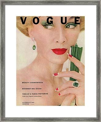 A Vogue Magazine Cover Of Lisa Fonssagrives Framed Print by Clifford Coffin