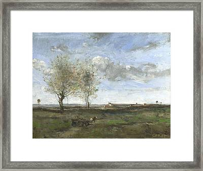 A Wagon In The Plains Of Artois Framed Print by Jean-Baptiste-Camille Corot