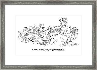 A Waiter Addresses Three Men Ordering Framed Print