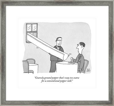 A Waiter Holds A Large Chute Over A Man's Plate Framed Print by Peter C. Vey