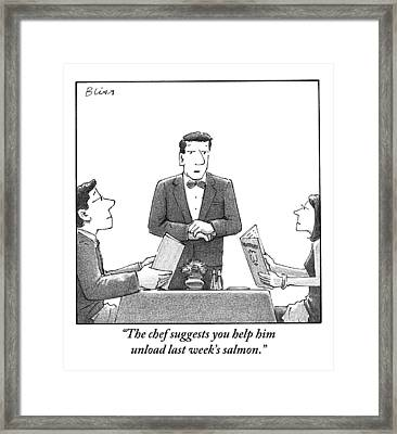 A Waiter Makes A Suggestion To A Man And Woman Framed Print
