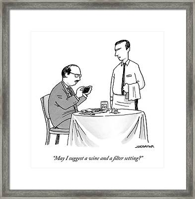 A Waiter Speaks To A Customer Who Is Taking Framed Print