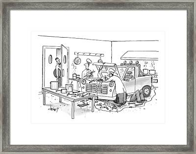 A Waiter Speaks To The Chefs In The Kitchen Framed Print