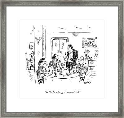 A Waiter Takes Orders At A Restaurant Framed Print