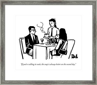 A Waitress Speaks To Customers At A Restaurant Framed Print by Drew Dernavich