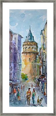 Framed Print featuring the painting A Walk Around Galata Tower - Istanbul by Faruk Koksal