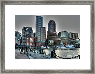 A Walk At The Harbor Framed Print by Adrian LaRoque