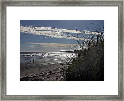 A Walk By The Sea Framed Print by George Cousins