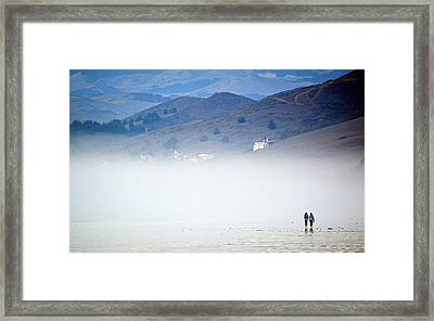 A Walk In The Evening Fog Framed Print by AJ  Schibig
