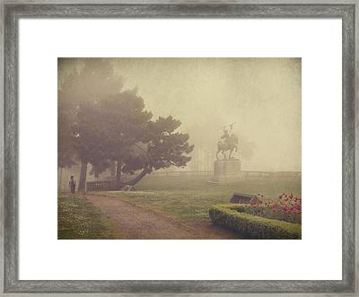 A Walk In The Fog Framed Print by Laurie Search