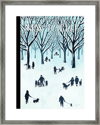 A Walk In The Snow Framed Print by Mark Ulriksen