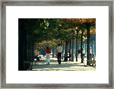 A Walk In The Tuileries Framed Print by Carl Purcell