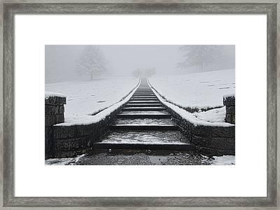 A Walk Into The Fog Framed Print by Don Schwartz