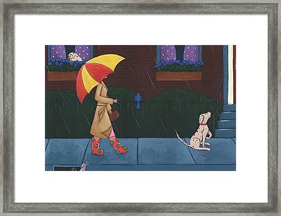 A Walk On A Rainy Day Framed Print by Christy Beckwith