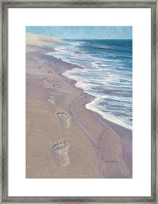 A Walk On The Beach Framed Print by Lucie Bilodeau