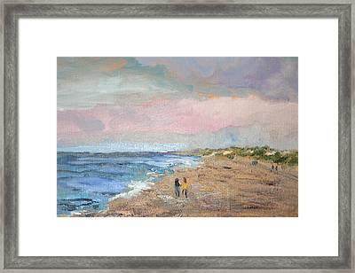 Framed Print featuring the painting A Walk On The Beach by Michael Helfen