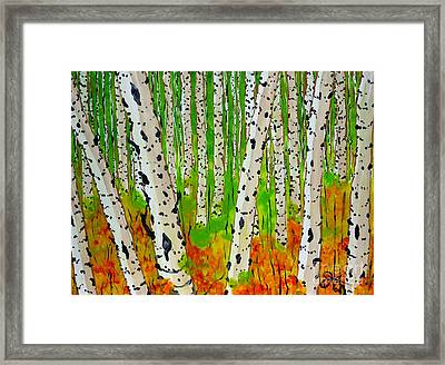 A Walk Though The Trees Framed Print