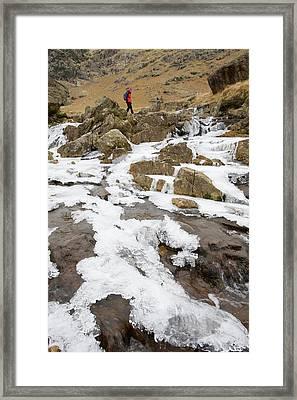 A Walker Crosses A Frozen Beck Framed Print