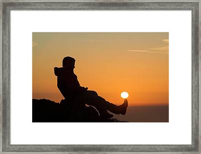A Walker On Swirl Howe Lake District Framed Print by Ashley Cooper