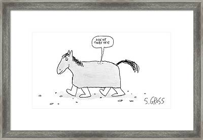 A Walking Trojan Horse -- Speech Bubble Framed Print