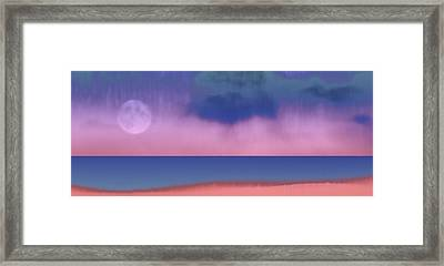 Warm Moon Shore Framed Print