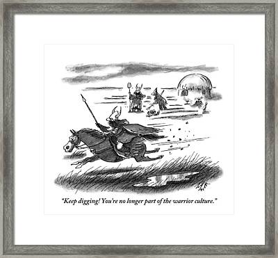 A Warrior Speeds By On Horseback While Two Others Framed Print