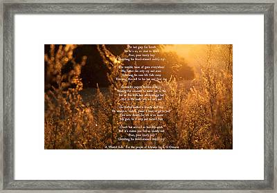 A Wasted Life - For The People Of Ukraine Framed Print by Ronald Osborne