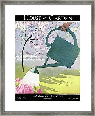 A Watering Can Above Pink Roses Framed Print