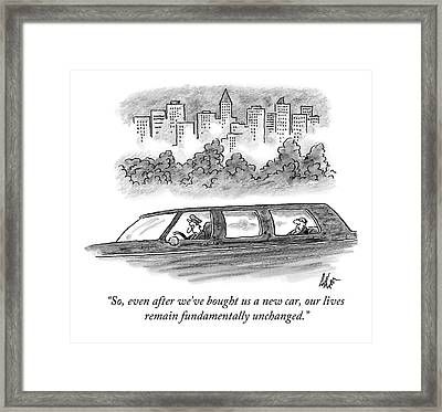 A Wealthy Man In The Back Of A Limousine Speaks Framed Print