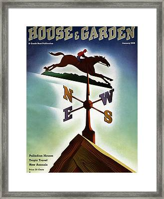 A Weathervane With A Racehorse Framed Print by Joseph Binder