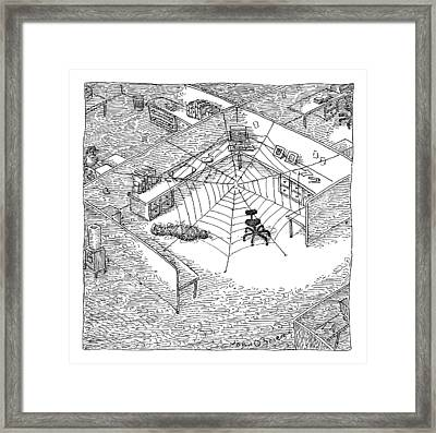 A Web Has Entangled A Man At His Cubicle Framed Print
