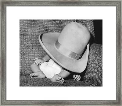 A Wee Weary Cowpoke Framed Print by Underwood Archives