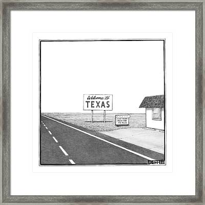 A Welcome Sign To Texas Is Seen Next Framed Print