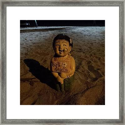Framed Print featuring the photograph A Welcoming Friend On My Night Stroll by Mr Photojimsf
